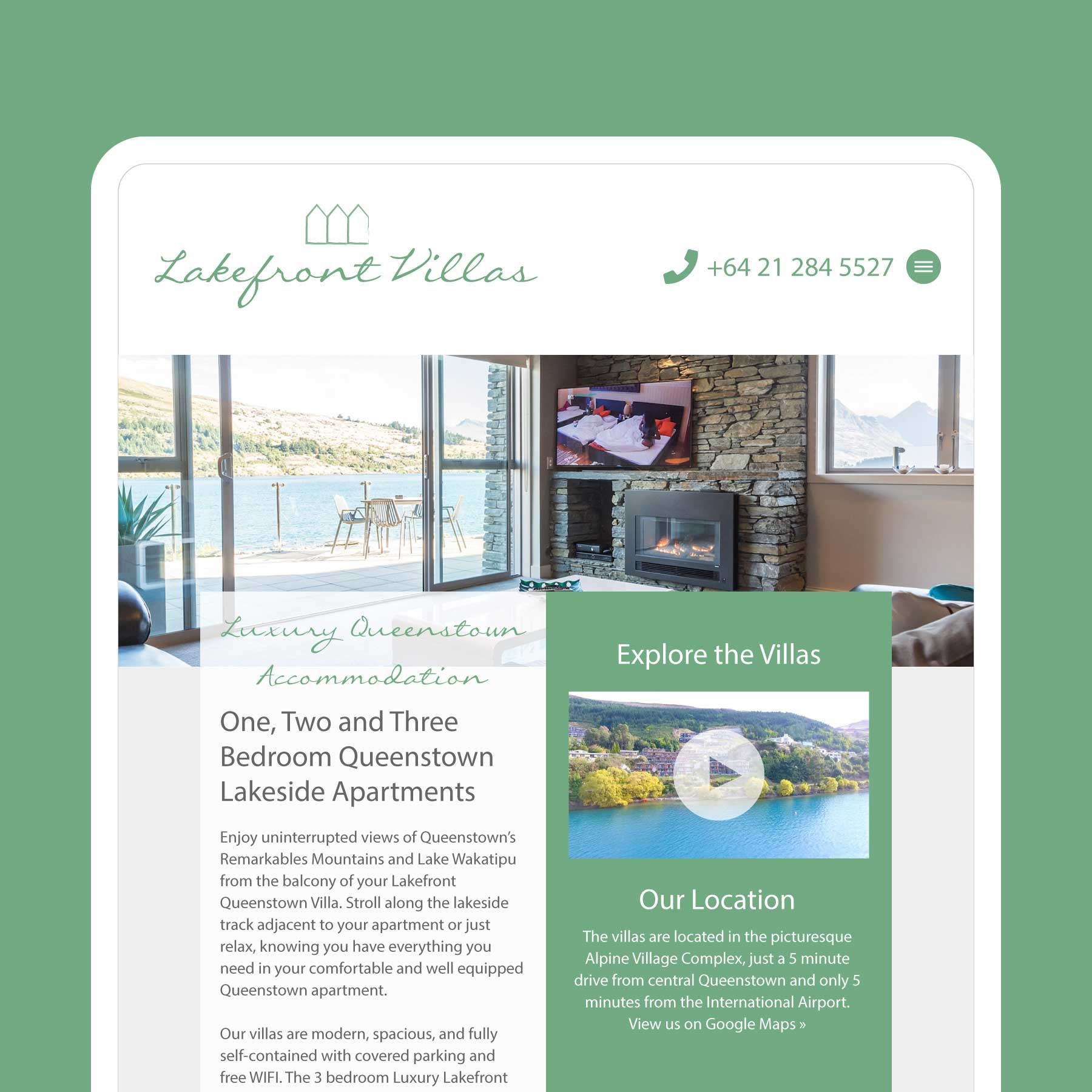 Lakefront Villas Website